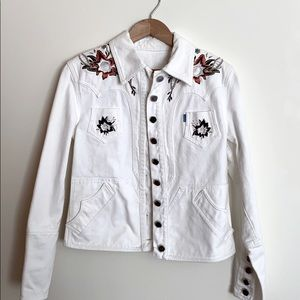 Christian Lacroix White Denim Embroidered Jacket